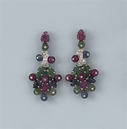 A PAIR OF GEM SET AND DIAMOND