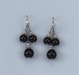 A PAIR OF ONYX, DIAMOND AND CU