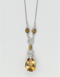 A CITRINE AND DIAMOND NECKLACE