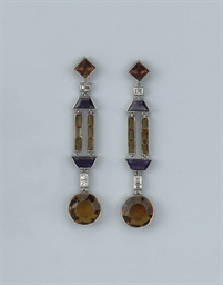 A PAIR OF CITRINE, AMETHYST AN