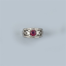 A RUBY AND DIAMOND BAND RING