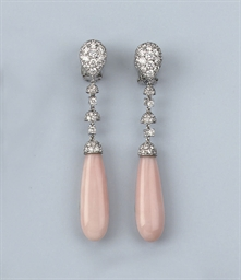 A PAIR OF PINK CORAL AND DIAMO