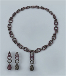 A RUBY AND BLACK DIAMOND NECKL
