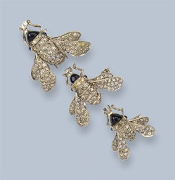 THREE DIAMOND SET BEE BROOCHES