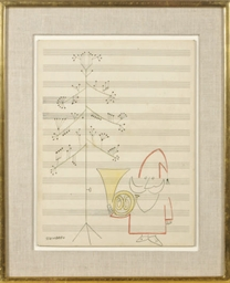 Music Sheet with Santa Claus