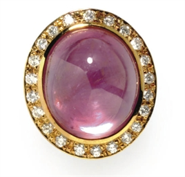 A PINK SAPPHIRE, DIAMOND AND 1