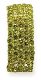 A PERIDOT AND GOLD BRACELET, B