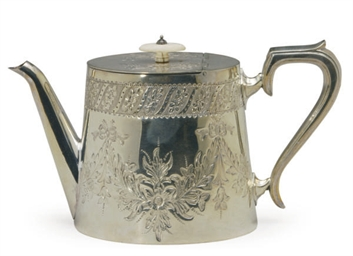 A VICTORIAN SILVER-PLATED TEAP