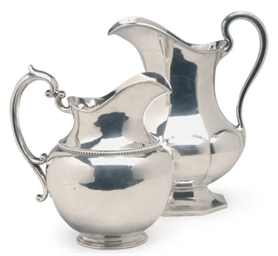 TWO AMERICAN SILVER PITCHERS,