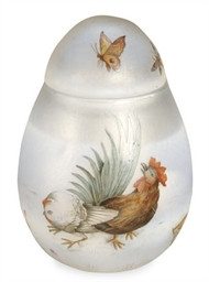 A FRENCH GLASS ENAMELED EGG-FO