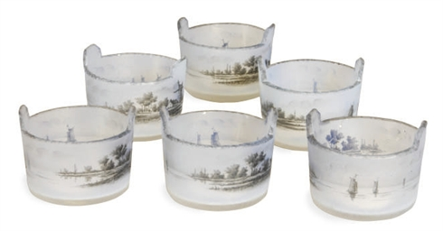 A SET OF SIX FRENCH ENAMELED G
