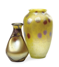 AN AUSTRIAN GLASS VASE AND A S