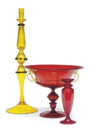 A VENETIAN GLASS COMPOTE, CAND