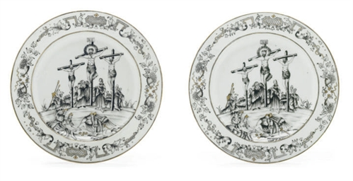 A PAIR OF GRISAILLE CRUCIFIXIO