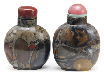 TWO CHINESE PUDDINGSTONE SNUFF BOTTLES,**