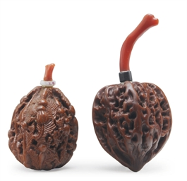 TWO CHINESE WALNUT SNUFF BOTTL