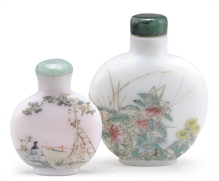 TWO CHINESE ENAMELED GLASS SNU