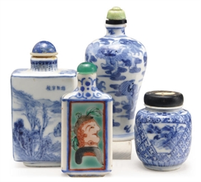 A GROUP OF FOUR CHINESE BLUE A