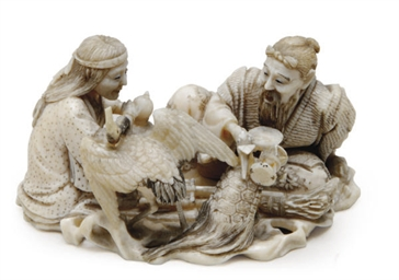 A JAPANESE IVORY NETSUKE OF JO
