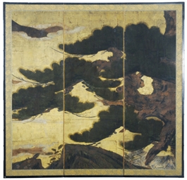 A THREE PANEL JAPANESE SCREEN