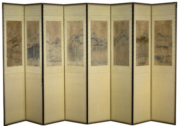 A KOREAN EIGHT PANEL SCREEN,
