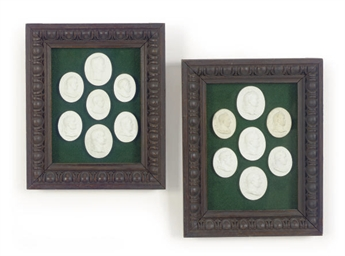 FIVE FRAMED GROUPS OF PLASTER