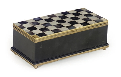 A GILT-METAL MOUNTED SLATE AND