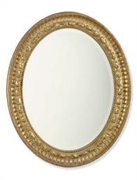 AN ENGLISH GILTWOOD OVAL MIRRO
