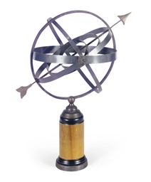 A PATINATED METAL ARMILLARY SP