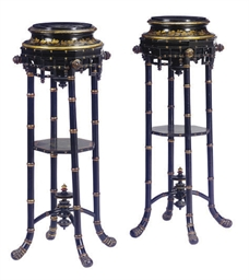 A PAIR OF VICTORIAN BLACK, GIL