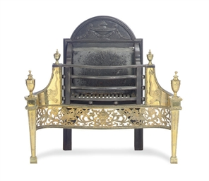 A BRASS AND STEEL FIRE BASKET,