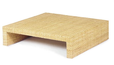 A WICKER LOW TABLE,