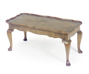 A WALNUT TRAY-ON-STAND,