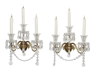 A SET OF SIX ORMOLU AND CUT-GL