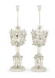 A PAIR OF WHITE-ENAMELED METAL