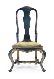 A BLUE-PAINTED AND PARCEL-GILT