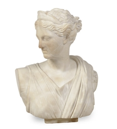 A MARBLE FIGURE OF DIANA,