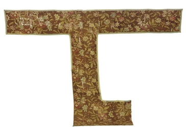 AN AUBUSSON CARPET FRAGMENT,
