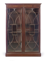 AN ENGLISH MAHOGANY BOOKCASE,