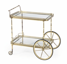 A BRASS AND GLASS DRINKS CART,