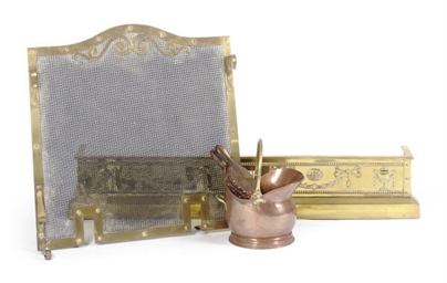 A BRASS FIRE FENDER AND SCREEN