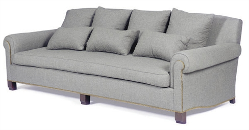 A GREY CASHMERE-UPHOLSTERED SO