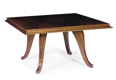 A MAHOGANY SQUARE-FORM DINING