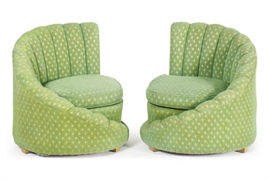 A PAIR OF GREEN UPHOLSTERED SH