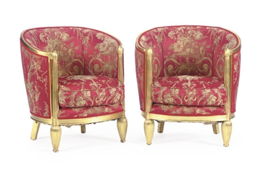 A PAIR OF GILTWOOD AND RED AND