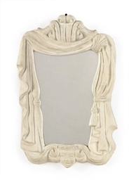 A PAINTED PLASTER MIRROR,