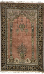 A SILK QUM PRAYER RUG,