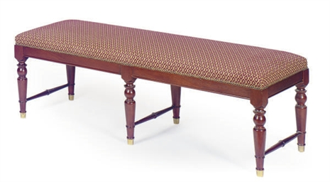 A MAHOGANY AND UPHOLSTERED BEN