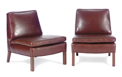 A PAIR OF WALNUT AND LEATHER-U
