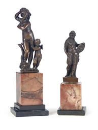 TWO ITALIAN PATINATED BRONZE C